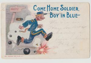 Military War Comic Soldier COME HOME 1906 vintage undivided back Postcard