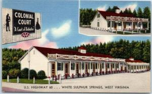 White Sulphur Springs WV Postcard COLONIAL COURT Motel Highway 60 Roadside Linen