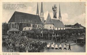 Gruss aus Altotting Church Chapel Stret Vintage Cars Postcard