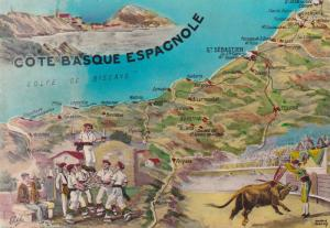 AS: COTE BASQUE ESPAGNOLE, Map of cities along coast, bull fighting, men perf...