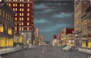 Alliance Ohio~Main Street @ Night~Sears~Hardware Store~40s Cars~1949 Postcard