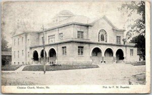 Mexico, Missouri Postcard Christian Church Building / Street View 1908 Cancel