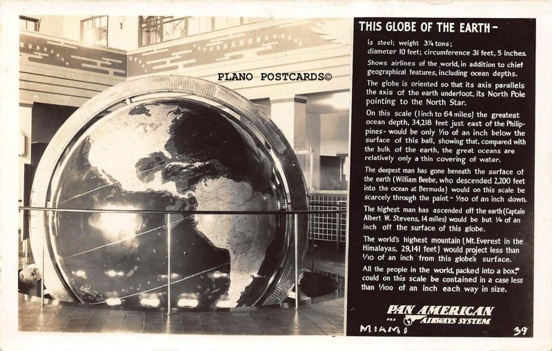 MIAMI, FLORIDA PAN AM-THE GLOBE OF THE EARTH  RPPC REAL PHOTO POSTCARD