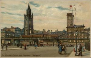 VERY ANIMATED LIME STREET LIVERPOOL 1912 TRAMS HORSE CARTS / HipPostcard