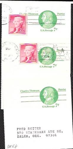 US three used Pre-stamped Postcards UX68 Charles Thomson, #1055 Coil