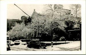 Vtg Postcard RPPC 1940s Hazard Kentucky KY Perry County Courthouse Snow Cars
