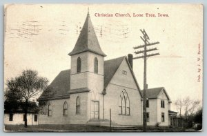 Lone Tree Iowa~Christian Church~Parsonage~Garage or Stable~1917 B&W Postcard