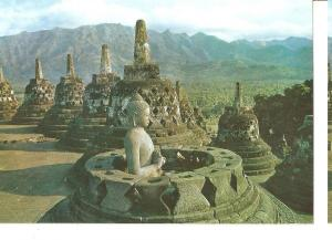 Postal 045047 : Open Stupa with a Budha inside at Borobudur. Central Java Ind...