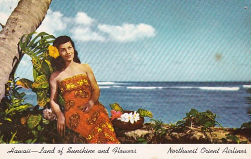Hawaii Land Of Sunshine and Flowers Northwest Orient Airlines Advertising