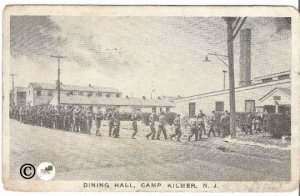 Dining Hall Camp Kilmer N.J. New Jersey Vintage Postcard White Border Military