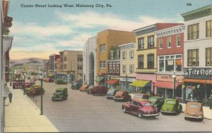 View of Center Street Looking West Mahanoy City PA Vintage postcard