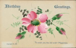 Birthday Greeting Happiness flower Blumen fleurs hand painted