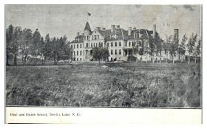Early 1900s Deaf and Dumb School, Devil's Lake, ND Postcard *5E5