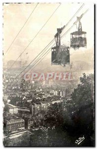 Old Postcard The beautiful French Alps Grenoble Cable car crossing the Basili...