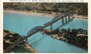 Louisville Kentucky~K & I Bridge~Aeroplane View~Island~Indiana~1940s Postcard