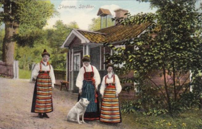 Sweden Skansen Soraker Local Women In Traditional Costume