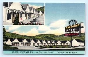 Postcard VA Covington Pinehurst Motel Vintage Linen Multiview J5