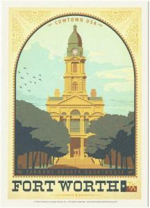 Postcard of Fort Worth Texas Tarrant County Courthouse Poster Style Postcard