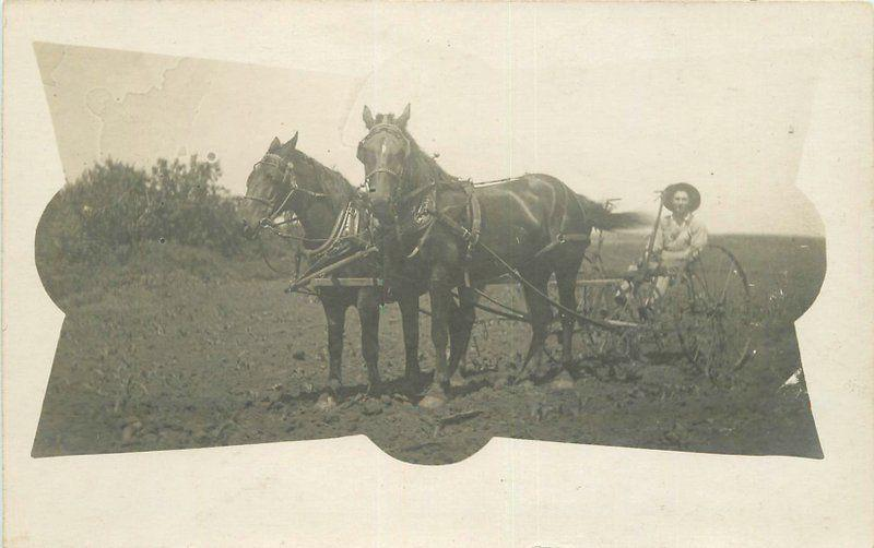 C-1910 Farming Agriculture Horse Drawn Implement RPPC Real photo postcard 2199