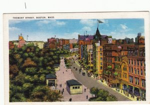 P1728 old unused postcard tremont street scene boston mass