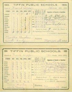 TIFFIN OH 1906 - SCHOOL REPORT CARD for FRANK COPPER / Senaca County