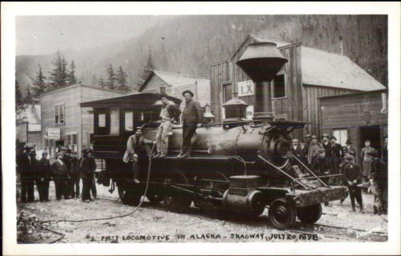 First Locomotive Train Skagway AK 1898 - c1950s-60s Real Photo Postcard
