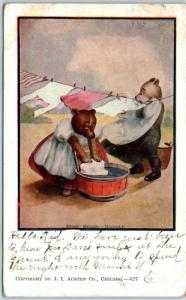 Vintage BUSY BEARS ON MONDAY Postcard Washing Clothes J.L. Austen w/ 1907 Cancel