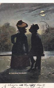 Romantic Couple Kissing In The Pale Moonlight 1908