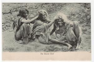 The Guzrat Gujarat Hunt Hair Grooming Women India 1910c postcard