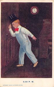 Kathleen Mathew~Day in Boy's Life~5 PM~Top Hat~Bib Overalls~Heads Out Door~1906