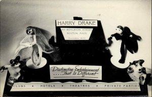 Harry Drake Clubs Hotels Theatres Boylston St. Boston MA Real Photo Postcard