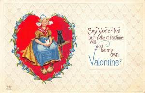 Brundage Valentine~Smiling Dutch Girl~Heart Vignette~Black Cat~Emboss~NASH V-52