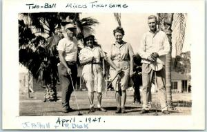 Vintage RPPC Real Photo Postcard GOLFING Mixed Foursome 2 Ladies 2 Men 1947