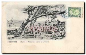 Old Postcard Cote des Somalis Djibouti Caravan Stop in the bush