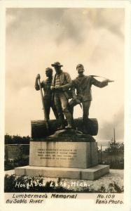 Au sable River 1930s Houghton Lake Michigan Lumbermen's Memorial Vans RPPC 1717