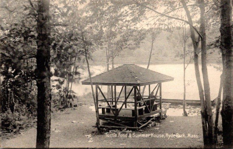 Massachusetts Hyde Park Turtle Pond & Summer House 1907 Rotograph