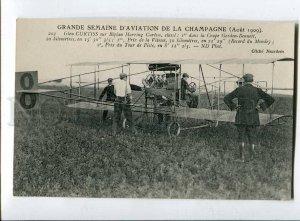 415298 Aviation history FRANCE Glen Curtiss biplan airplane Vintage postcard