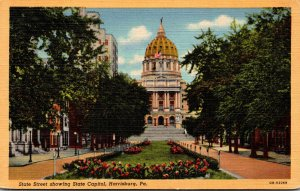 Pennsylvania Harrisburg State Street Showing State Capitol Curteich