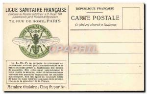 Old Postcard Sanitary Ligue Francaise Paris Street in Rome Mosquito