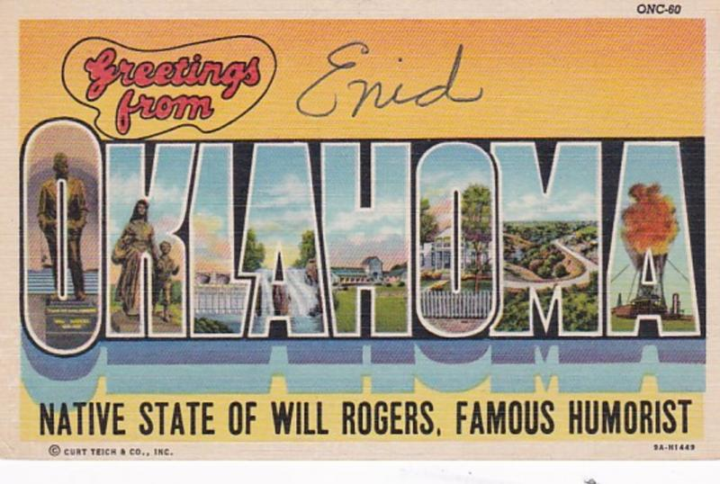 Oklahoma Greetings From Enid Large Letter Linen Curteich