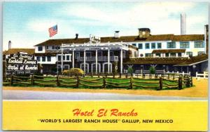 Gallup, New Mexico Postcard HOTEL EL RANCH World's Largest Ranch House Linen