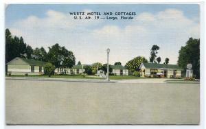 Wurtz Motel Cottages US 19 Largo Florida 1957 linen postcard