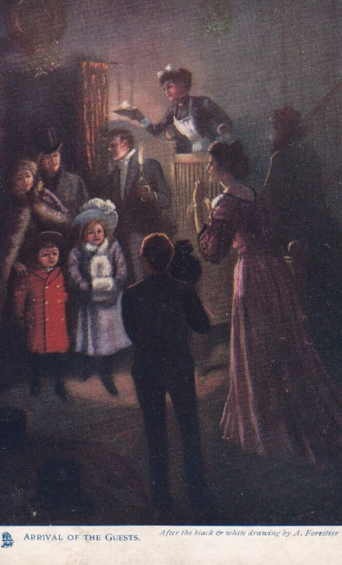 Arrival of the Guests, 1900-10s, After the black & white drawing by A. Fare...