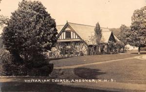 Andover New Hampshire Unitarian Church Real Photo Antique Postcard K28828