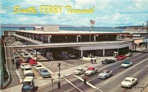 1950s Seattle Washington Ferry Terminal Smith Western Plastichrome postcard 7548