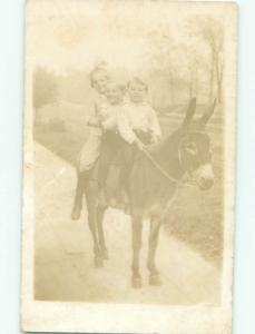 rppc Pre-1918 KIDS RIDING ON SMALL DONKEY MULE AC7622