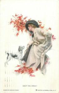 Harrison Fisher signed postcard  Can`t you speak ? elegant woman & dog