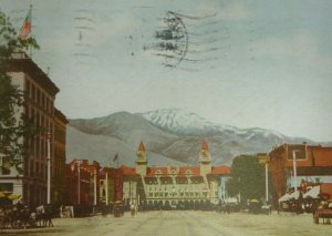 c. 1907 Pike's Peak Ave. Colorado Springs Postcard Horse Buggy Buggies