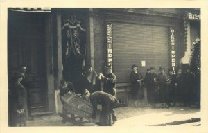 Early real photo postcard military funeral snapshot coffin place to identify
