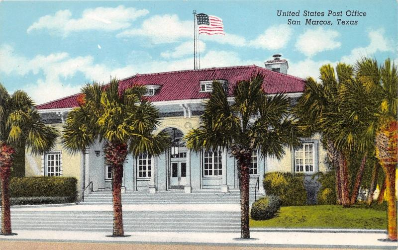Marvelous San Marcos Texas~US Post Office~Palm Trees In Front~1950s Postcard